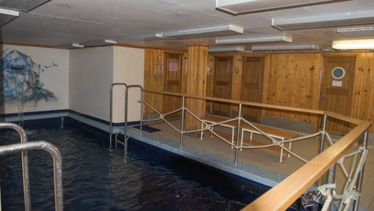 Indoor swimming pool on board the 50 Years of Victory.