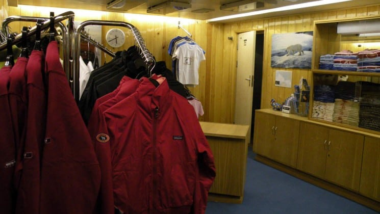 Gift shop aboard the 50 Years of Victory with jackets and t-shirts.