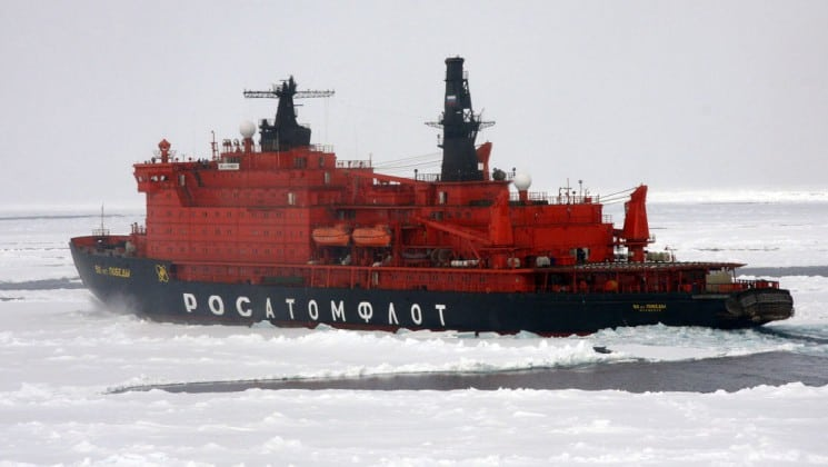 50 Years of Victory sailing through the ice in Antarctica.