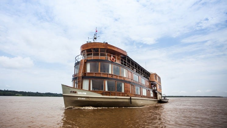 Full exterior of bow of Delfin II riverboat on the Amazon River