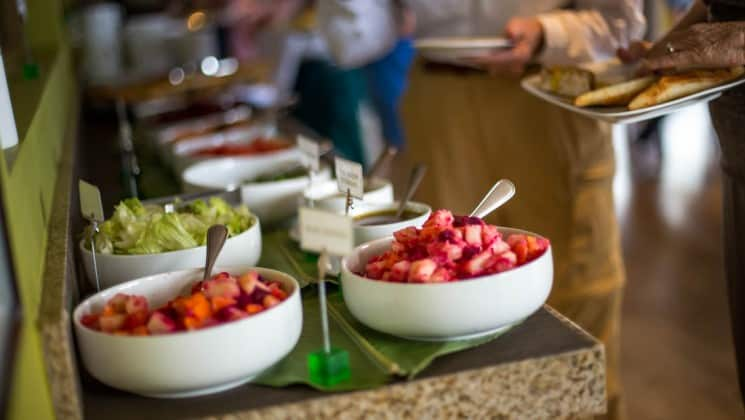 Fresh fruit and vegetables and other fine food in the buffet at Delfin III riverboat on Amazon River cruise