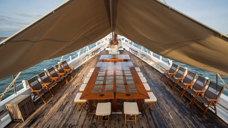 Katharina sailboat with outdoor dining on the deck, large table and chairs.