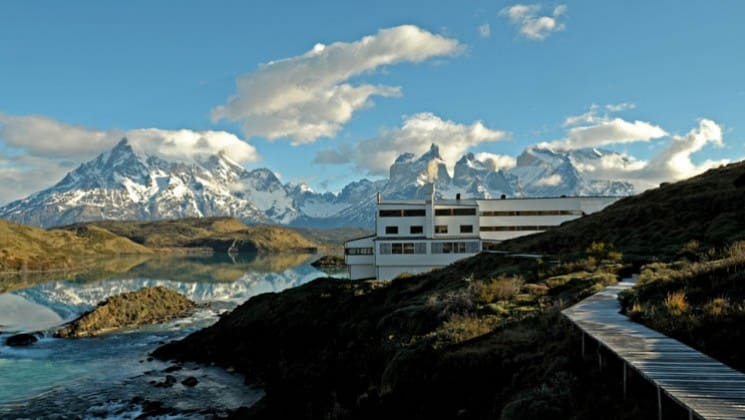 Exterior of Explora Patagonia Lodge in Chile, next to Lake Pehoe in Torres del Paine National Park