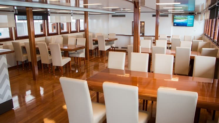 Fantazija dining room with with tables, chairs and windows.