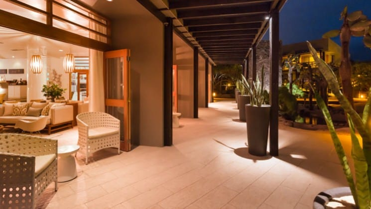 Exterior from open terrace at night at Finch Bay Eco Hotel in the Galapagos Islands