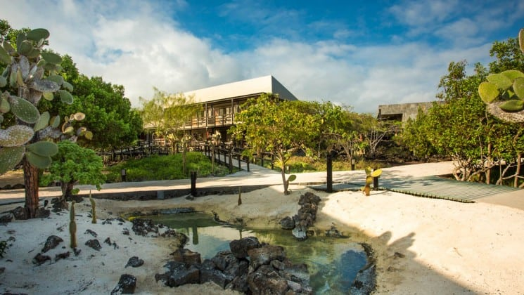Walkways surrounded by cacti and trees around the exterior of Finch Bay Eco Hotel in the Galapagos Islands