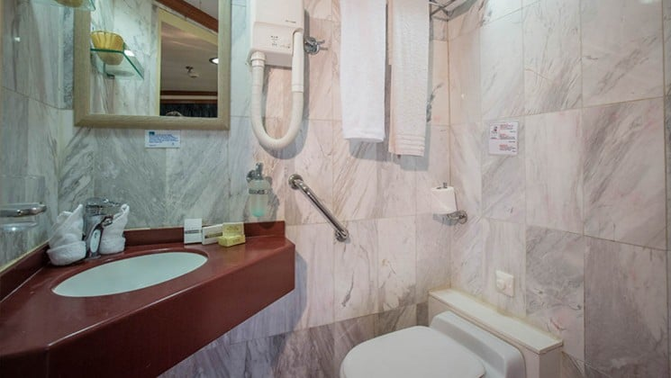 Galileo category C & B bathroom with vanity, amenities, hair dryer and toilet.