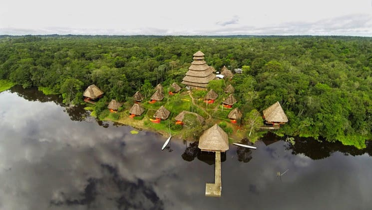 An aerial view of the Napo Wildlife Center, a luxury eco lodge surrounded by a 53,000 acre rainforest biosphere reserve within Yasuni National Park in the Amazon.