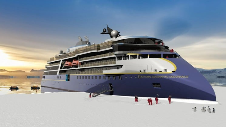 Rendering of National Geographic Endurance polar expedition ship docked at glacier with passengers walking on land