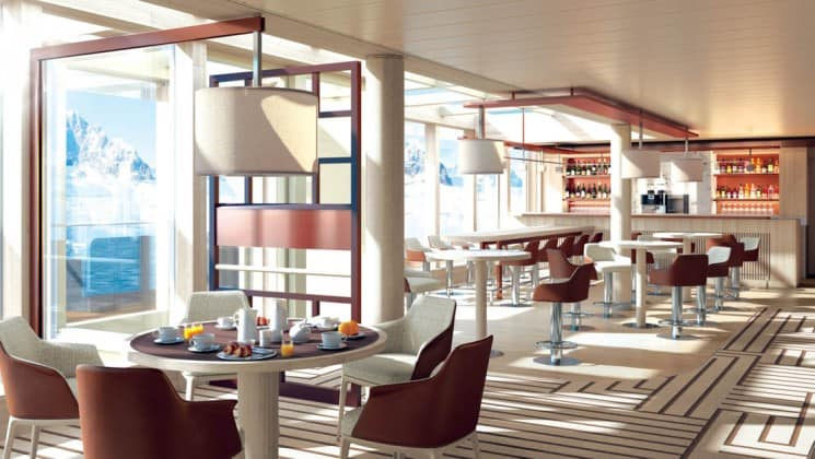 Rendering of dining lounge with tables, chairs, bar and large windows aboard National Geographic Endurance polar expedition ship