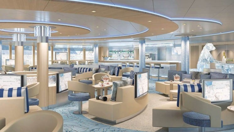 Rendering of lounge with couches, chairs, tables, bar and large windows aboard National Geographic Endurance polar expedition ship