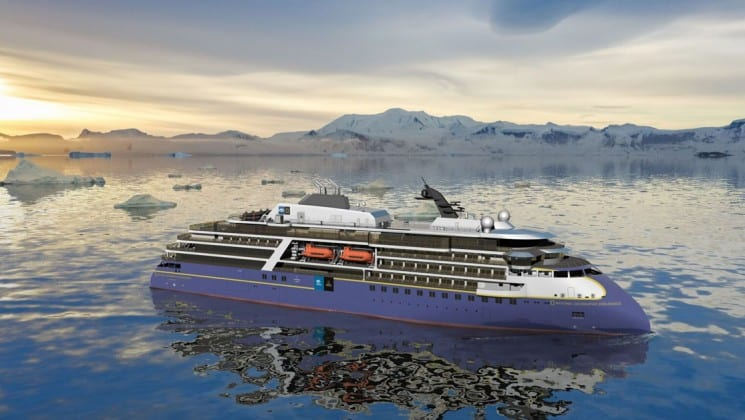 Rendering of full view of starboard side of National Geographic Endurance polar expedition ship with icebergs and glaciers