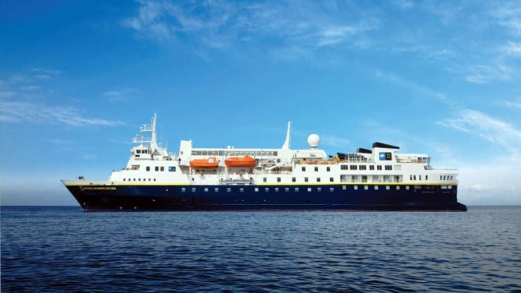 Full exterior of port side of National Geographic Explorer polar expedition ship