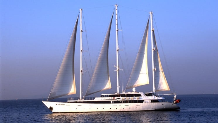 Panorama Mediterranean luxury yacht sailing on calm water