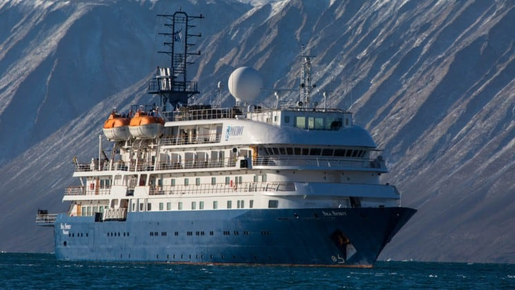 Full exterior of starboard side and bow of Sea Spirit polar expedition ship