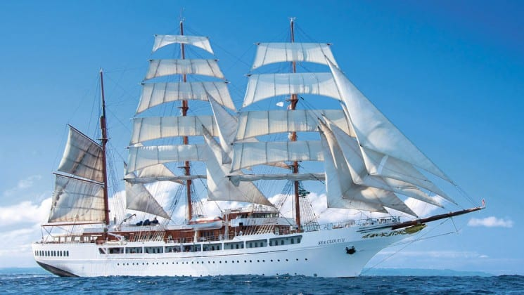 sea cloud ii mediterranean luxury yacht sailing on calm waters on a sunny day