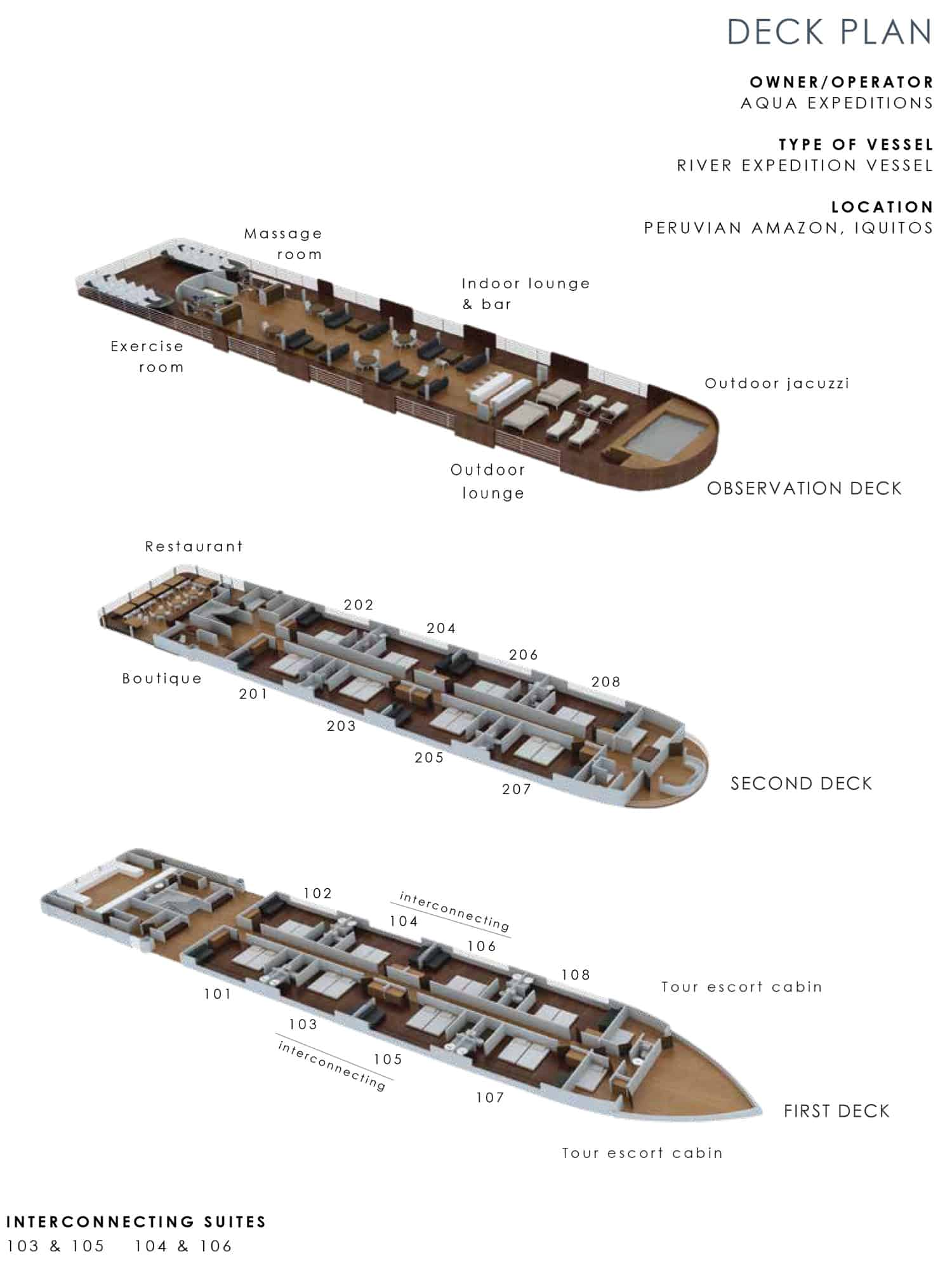 Aria small ship deck plan showing first, second, and observation decks.