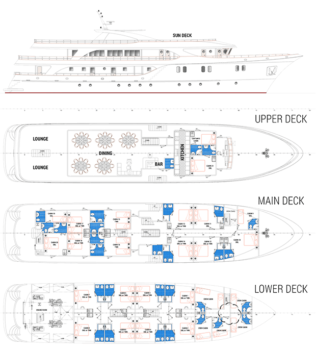 Deck Plan of the Adriatic Sun showing the upper deck, main deck, and lower deck.