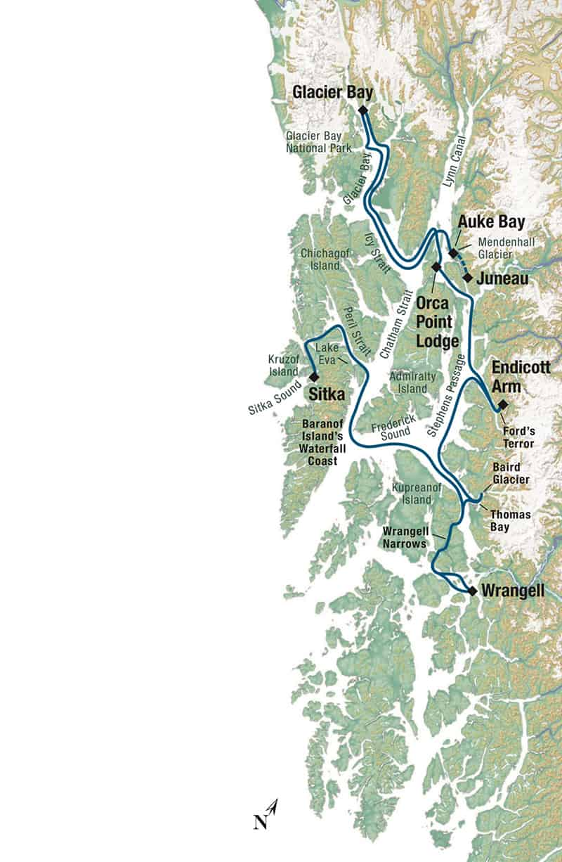 Last Frontier Adventure Cruise itinerary through the Inside Passage of Alaska