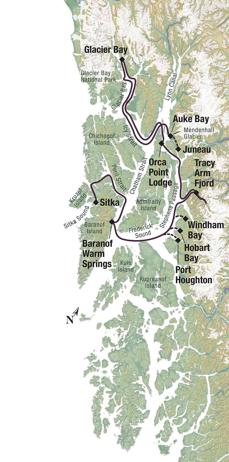 Map of Alaska's Islands, Whales & Glaciers main and reverse routes, operating between Sitka and Juneau