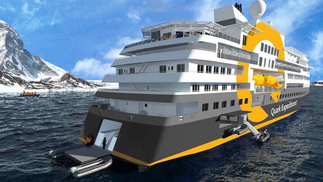 Rendering of exterior of Ultramarine expedition ship, showing aft platform on a sunny day..