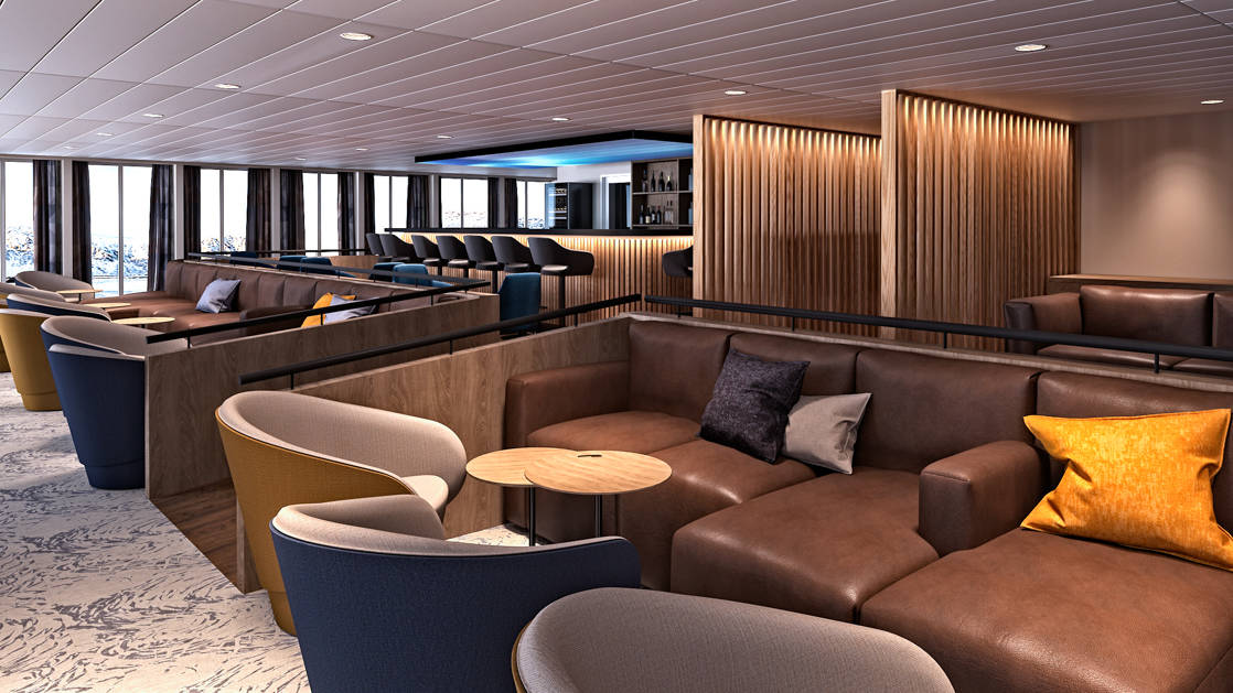 Lounge and bar with modern swivel chairs and leather couches aboard Ultramarine expedition ship.
