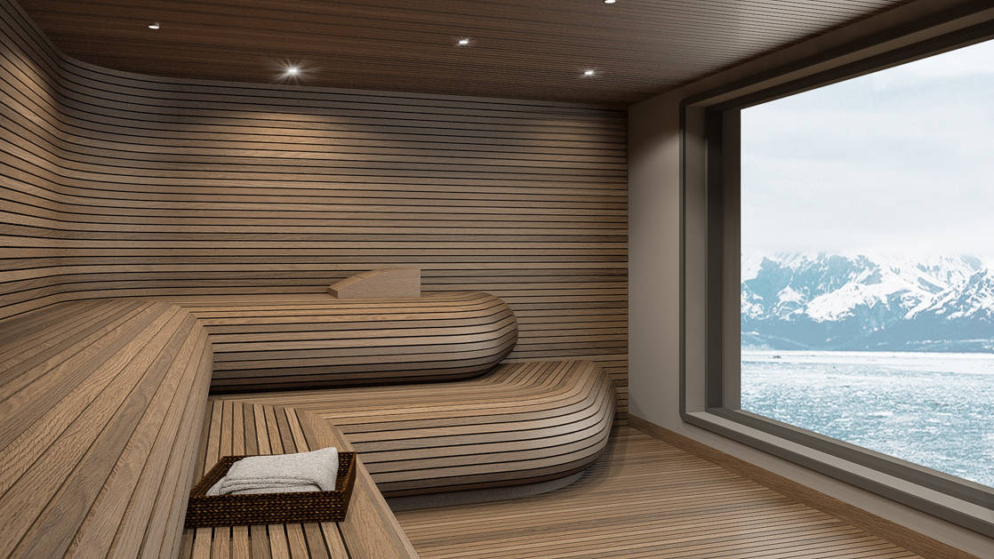 Rendering of sauna aboard Ultramarine expedition ship, with long wooden wraparound bench and a large window revealing polar seascapes.