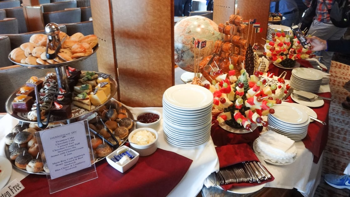 Hebridean Sky continental breakfast bar with assorted pastries and fruit.