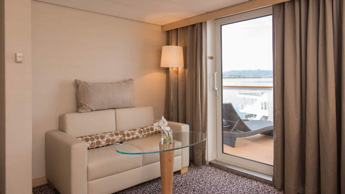Ocean Diamond ship cabin with Balcony and couch