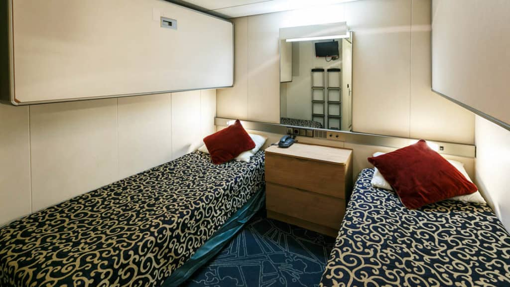 Inside Single cabin aboard Ocean Endeavour. Photo by: JP Mullowney/Quark Expeditions