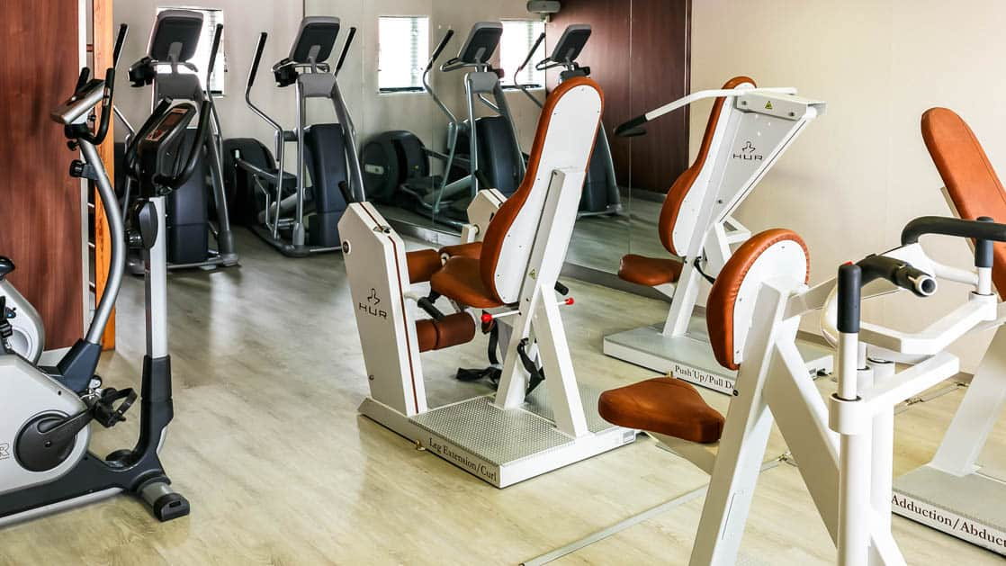 room with gym equipment aboard Ocean Endeavour