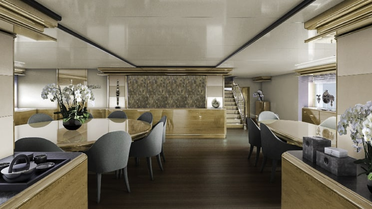 Rendering of dining room aboard Aqua Blu Indonesia luxury yacht, with wooden accents throughout, modern grey chairs, orchid flower arrangements & indonesian art.