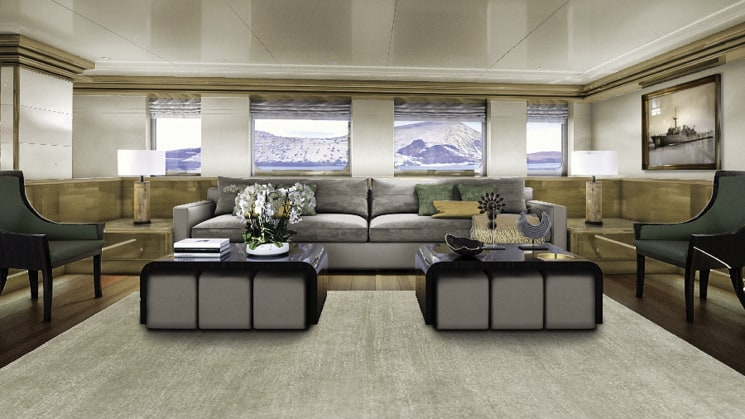 Rendering of Salon aboard Aqua Blu Indonesia yacht, with grey couch, two wooden coffee tables, green wingback chairs, wooden floors with beige area rugs & picture windows.