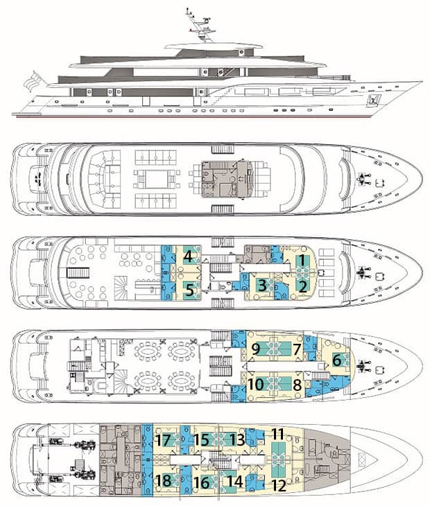 Black Swan small ship deck plan showing 4 decks and cabin categories.