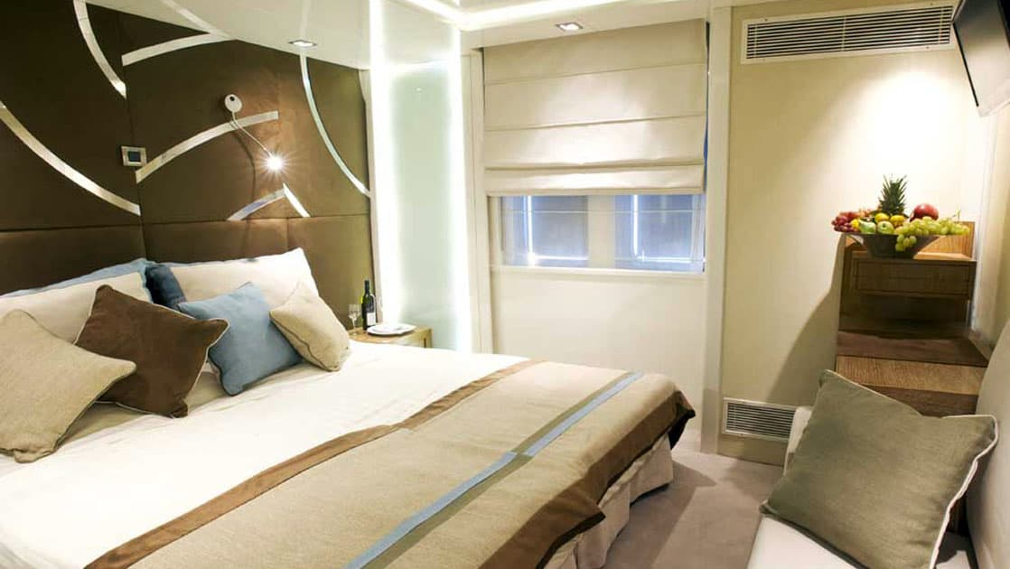 Category A cabin with double bed aboard Varitey Voyager.