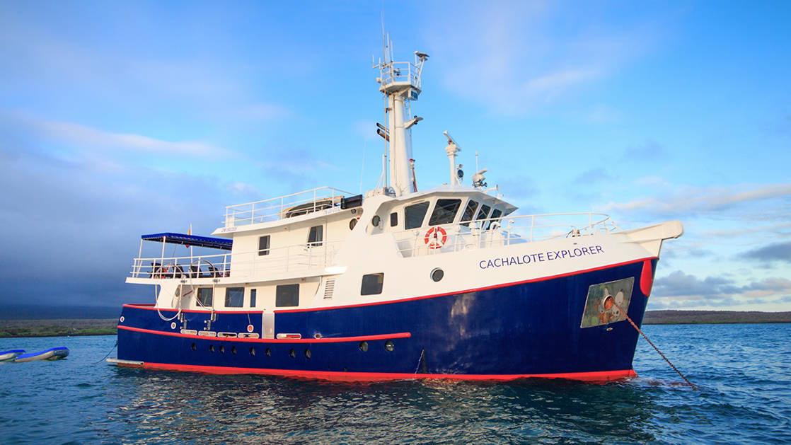 Starboard Exterior of Cachalote Explorer small ship cruising in the Galapagos.
