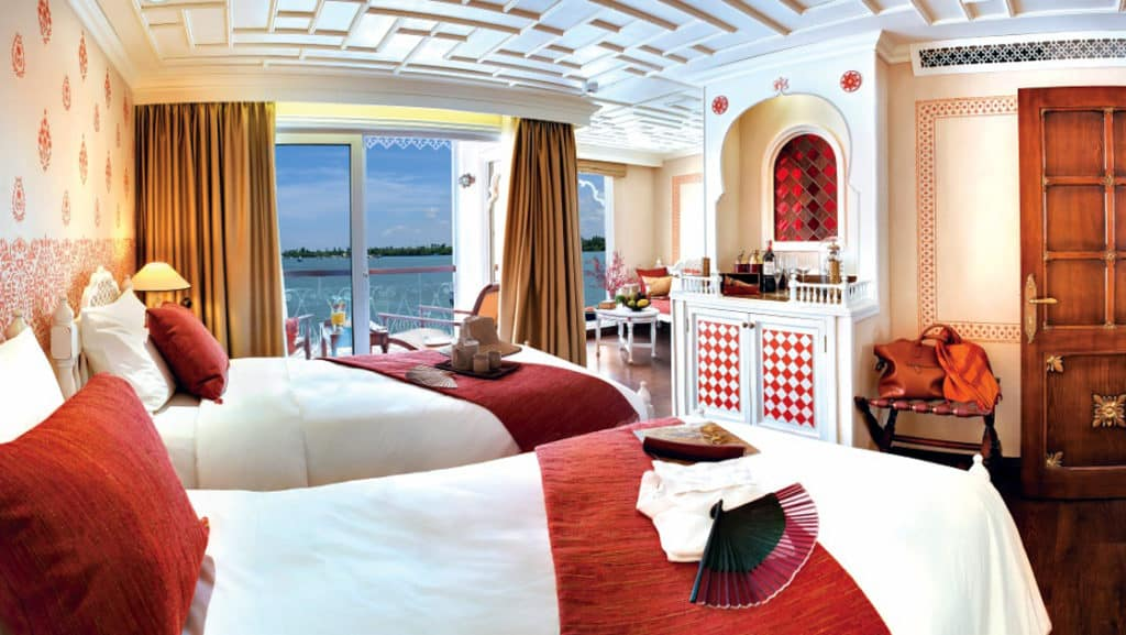 A Category 1 cabin aboard Jahan showcases the riverboat's luxury.
