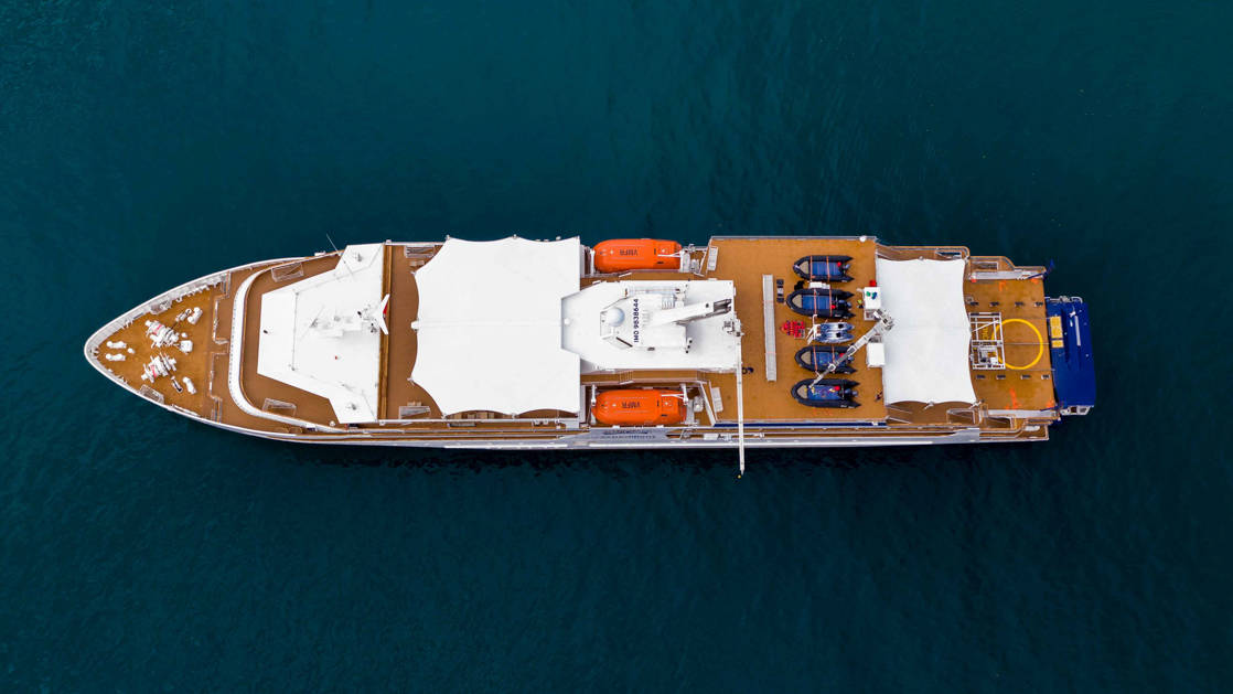 Aerial view of the coral adventurer showing top decks.