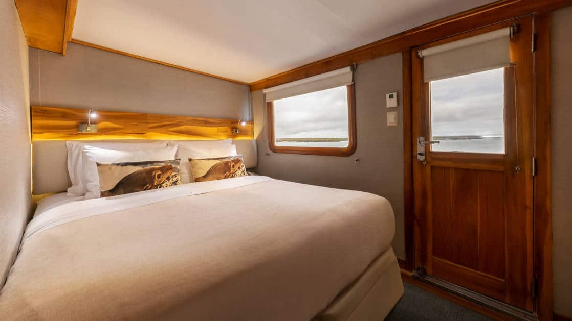 Interior of Junior Cabin with Double bed and two large windows aboard Coral I & Coral II yachts in the Galapagos Islands