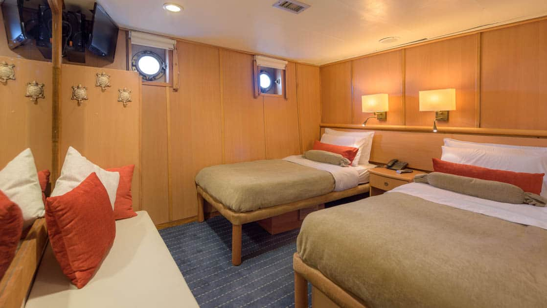 Standard plus cabin with two beds, bench, TV and two portholes aboard Coral I & Coral II yachts in the Galapagos Islands
