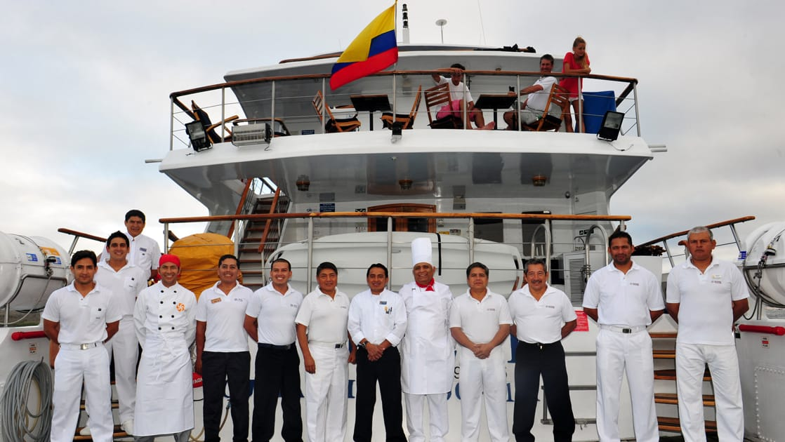 The crew of the Coral I & Coral II yachts in the Galapagos Islands
