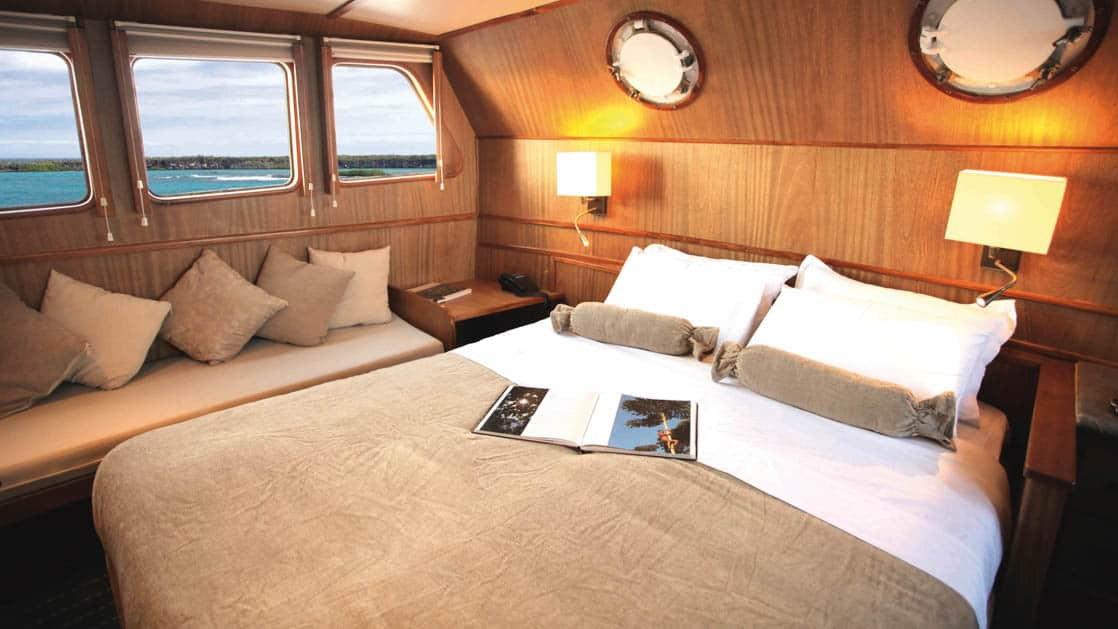 Interior of Junior Cabin with queen bed, bench and three large windows aboard Coral I & Coral II yachts in the Galapagos Islands