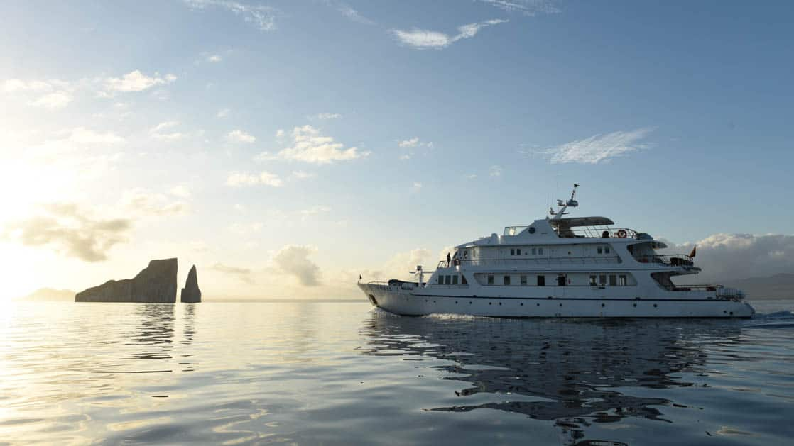 Port side of the Coral I & Coral II yachts in the Galapagos Islands