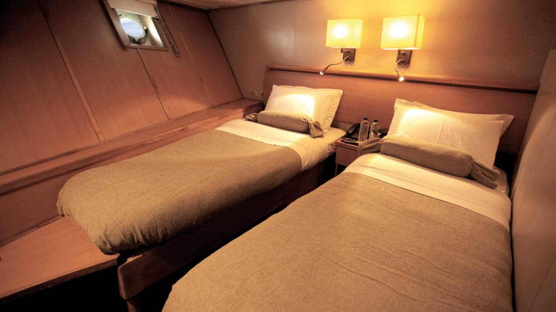 Standard Cabin with two beds, two lamps, bedside table and porthole aboard Coral I & Coral II yachts in the Galapagos Islands