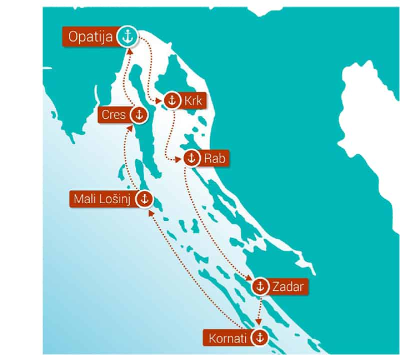 Route map of Croatia Island Hopper Dalmatia's Best Kept Secret cruise round-trip from Opatija with visits to Krk, Rab, Zadar, Kornati, Mali Losinj and Cres.
