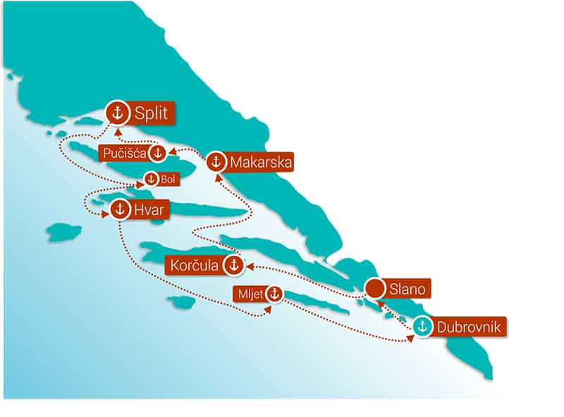 Route map of Croatia Island Hopper Divine Dalmatia cruise round-trip from Dubrovnik with visits to Mljet, Korčula, Split, Bol, Hvar & the Pelješac Peninsula.