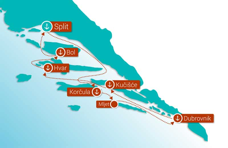 Route map of Croatia Island Hopper cruise between Split and Dubrovnik with Saturday departures.