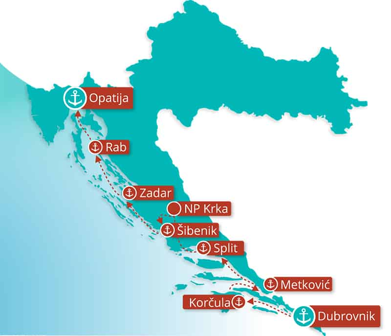 Dalmatian Coast Cruise Reverse Adriatic Explorer Route Map showing the stops between Dubrovnik & Opatija.