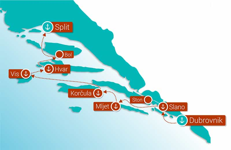 Reverse Dalmatian Coast Cruise Route Map showing the stops between Split and Dubrovnik