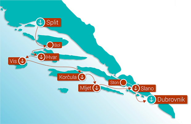 Dalmatian Coast Cruise Route Map showing the stops between Split and Dubrovnik